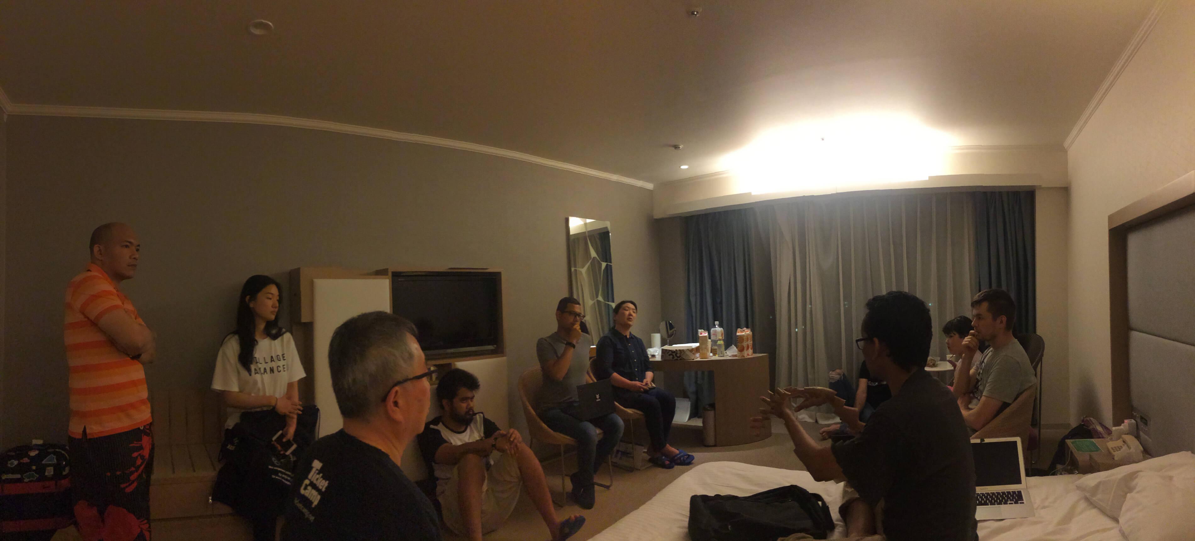 Xoxzo meeting in hotel room