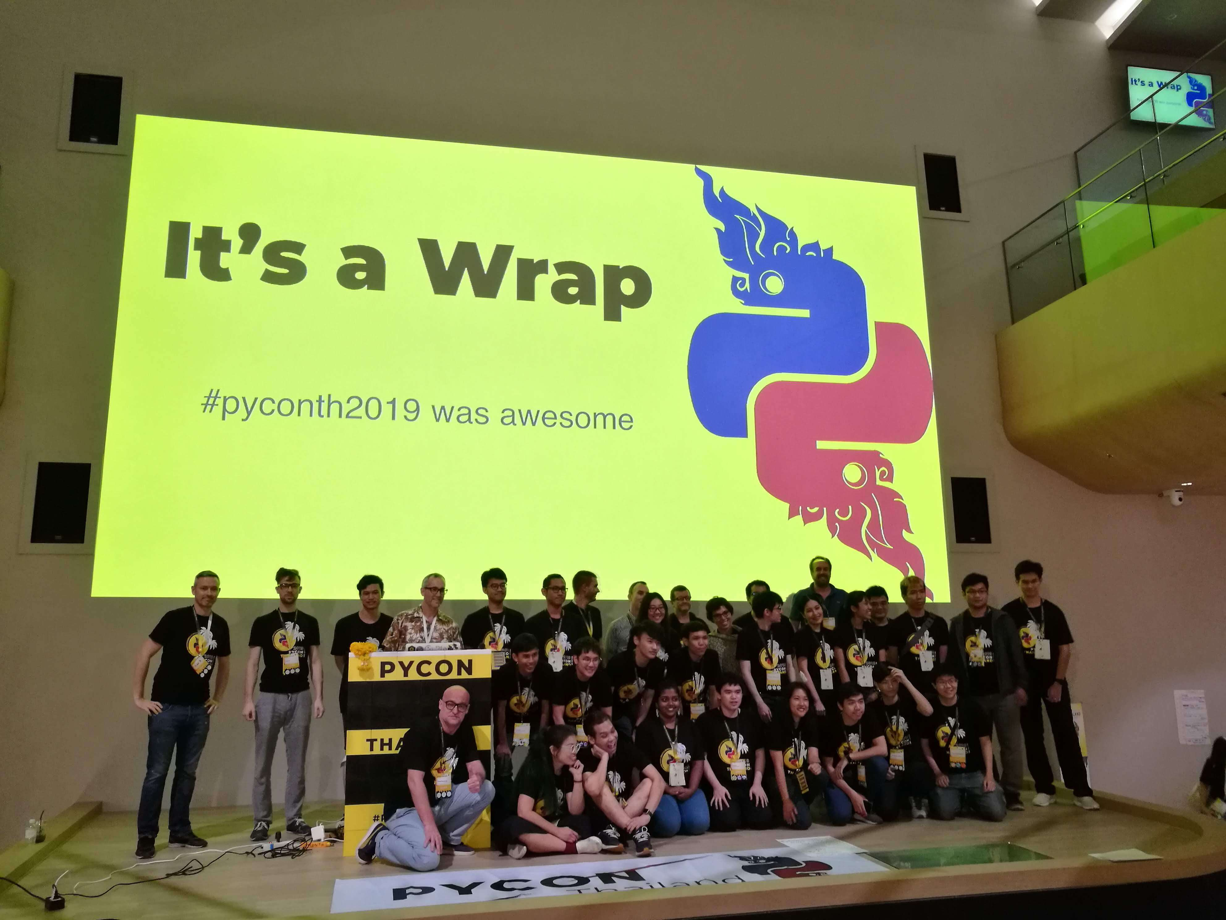 Staff roll call at closing for PyCon Thai 2018