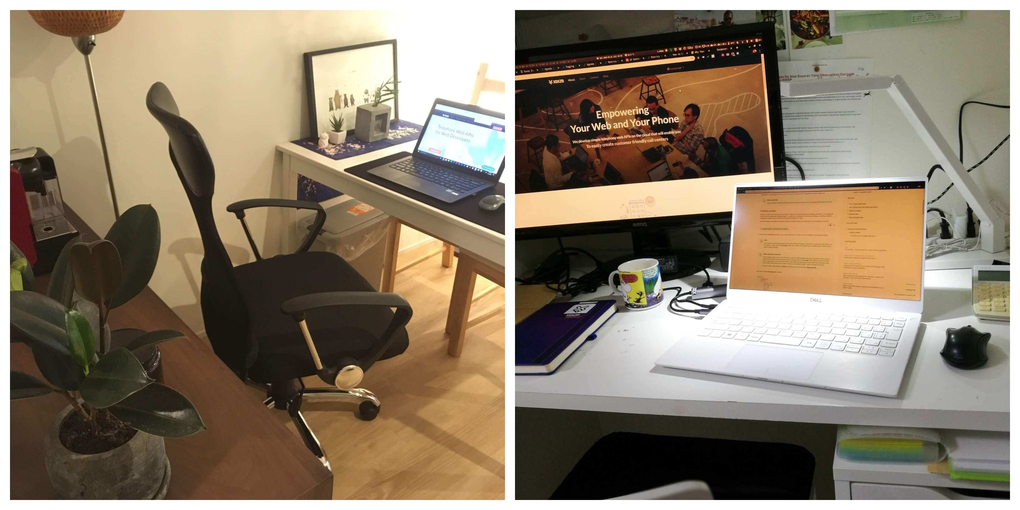 Geraldo and Iqbal's work setup