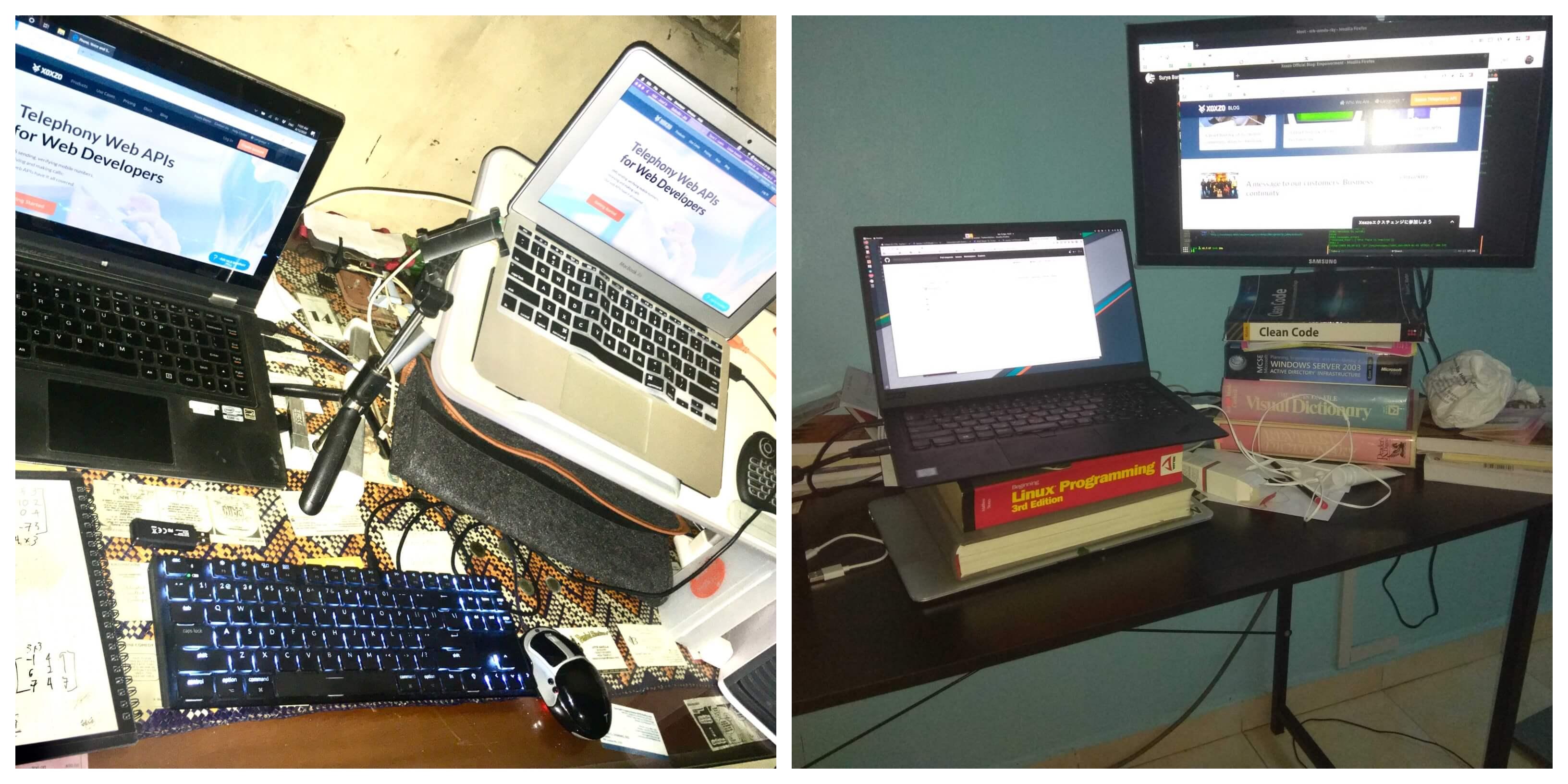 Josef and Kamal's work setup
