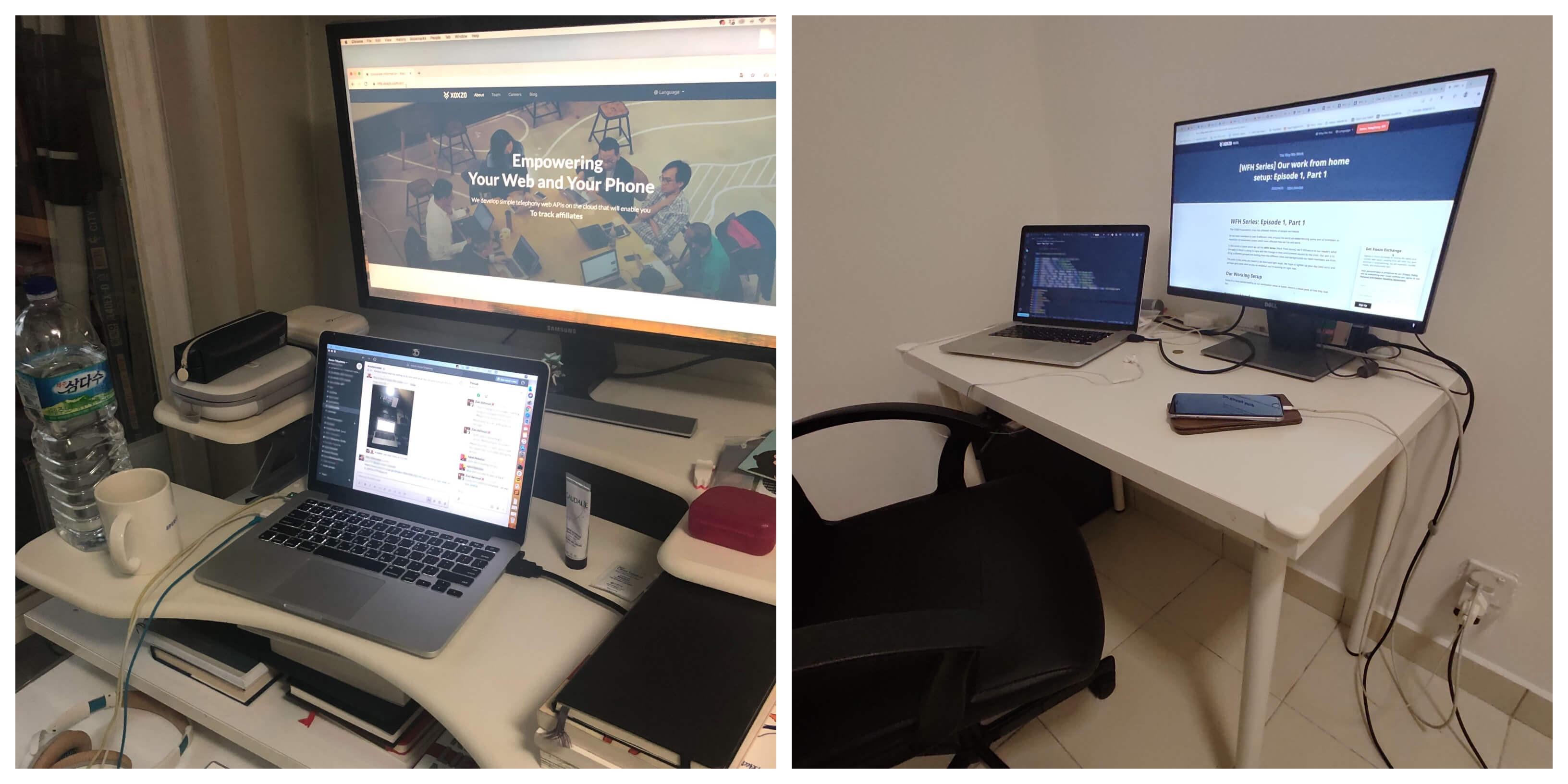 Jeong and Fathur's work setup